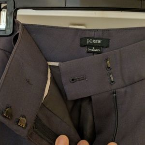 JCrew original fit. Dark grey slacks. Inseam 33.5